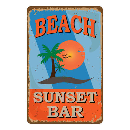 retro damaged rusty sign board. Vintage advertisement for tropical cafe bar. Sun, summer and sea theme.
