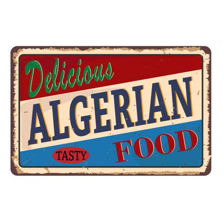 grungy Food plaque rusty metal sign web badge Illustration