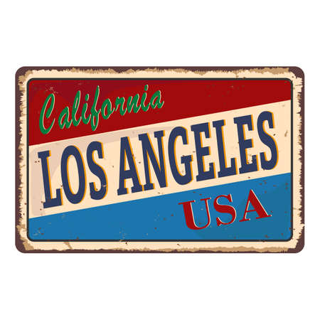 Los Angeles California vintage rusty metal sign on a white background, vector illustration