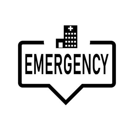 EMERGENCY Hospital web Speech Bubble. Flat Illustration