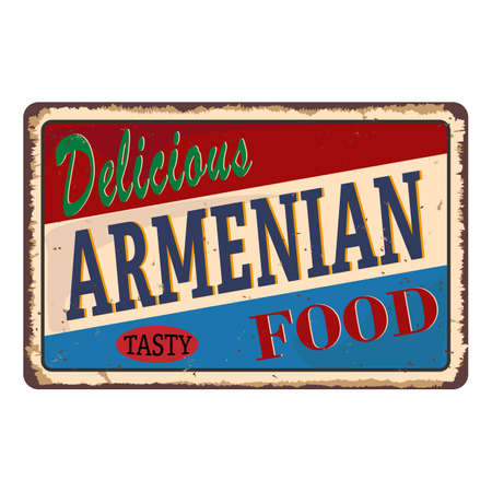 Abstract rusty plate or label with the text Armenian Cuisine Çizim