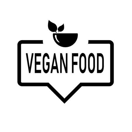 speech bubble with VEGAN FOOD text. linear flat trend modern minimal word logotype graphic art design element isolated on white.