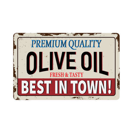 Olive Oil vintage metal promotional sign. Retro advertising for food restaurant. Stock Photo