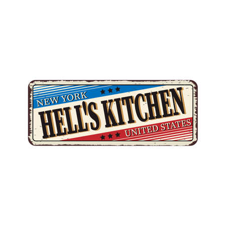 Vector illustration on a theme of New York City, hells kitchen. Typography, t-shirt graphics, banner,