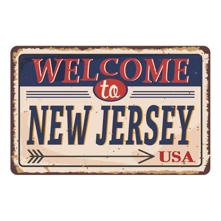 Welcome to New Jersey vintage rusty metal sign on a white background