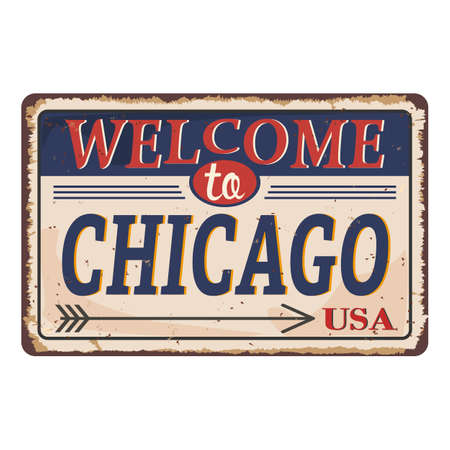 Chicago Preston vintage rusty metal sign on a white background, vector illustration