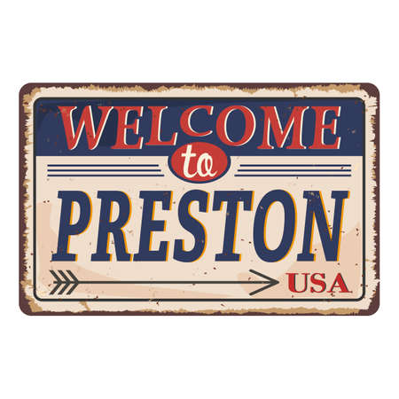 Preston vintage rusty metal sign on a white background, vector illustration