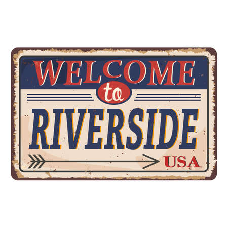 Welcome to riverside vintage rusty metal sign on a white background, vector illustration Illusztráció