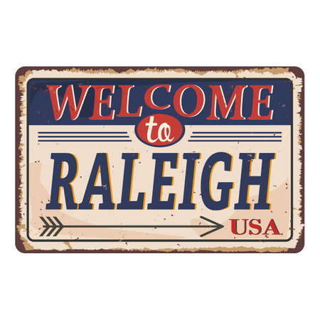 Welcome to Raleirh North Carolina vintage rusty metal sign on a white background, vector illustration 일러스트