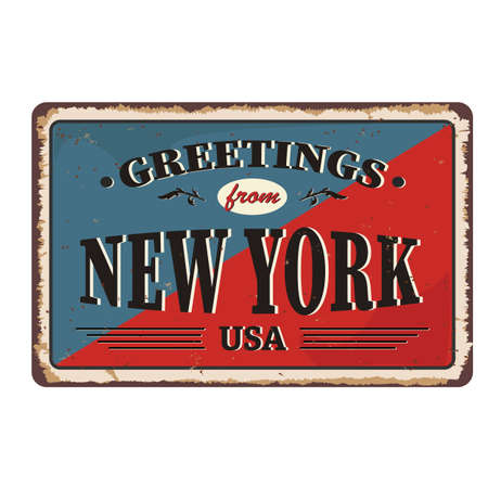 Greetings from New York vintage rusty metal sign on a white background, vector illustration