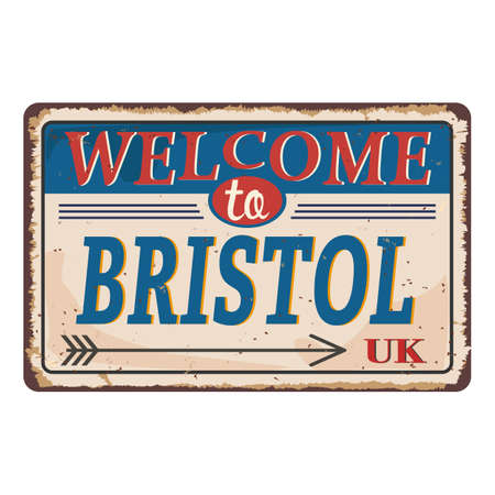 UK cities retro welcome to Bristol Vintage sign. Travel destinations theme on old rusty background. Illustration