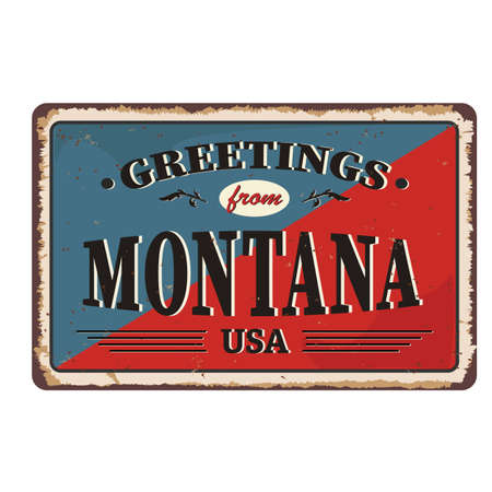 Greetings from Montana vintage rusty metal sign on a white background, vector illustration 일러스트