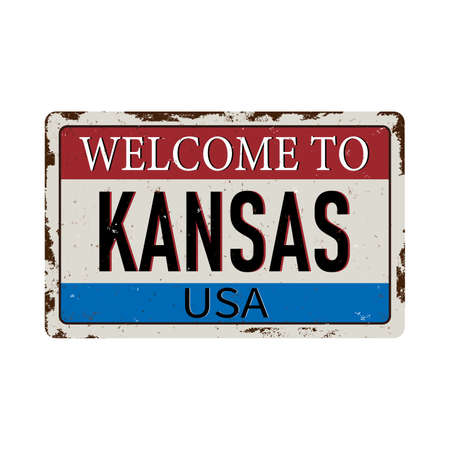 Welcome to Kansas vintage rusty metal sign on a white background, vector illustration