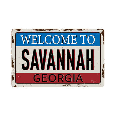 Welcome to Savannah Georgia vintage rusty metal sign on a white background, vector illustration 矢量图像