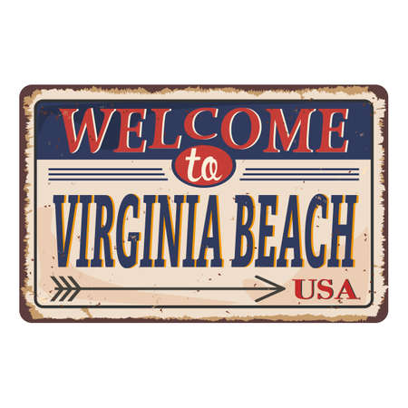 Welcome to Virginia Beach vintage grunge poster, vector illustration