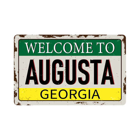 Welcome to Augusta Georgia vintage rusty metal sign on a white background, vector illustration