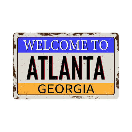 Welcome to Atlanta Georgia vintage rusty metal sign on a white background, vector illustration 일러스트