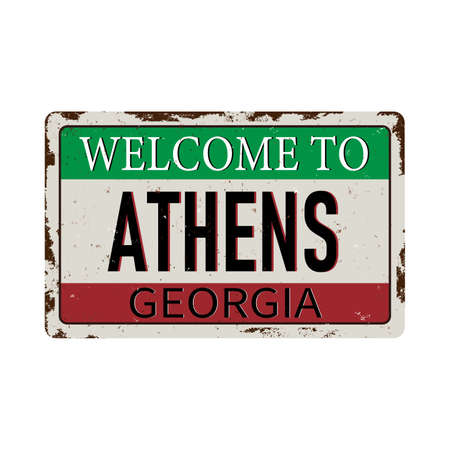 Welcome to Athens Georgia vintage rusty metal sign on a white background, vector illustration 일러스트