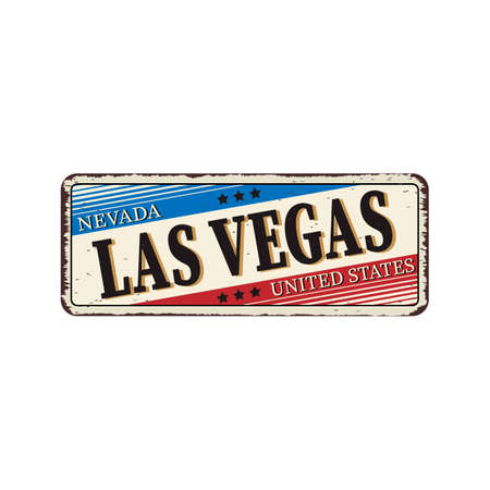 Welcome to Las Vegas Nevada vintage rusty metal sign vector illustration