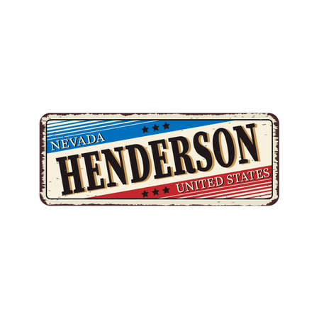 Welcome to Henderson Nevada vintage rusty metal sign vector illustration