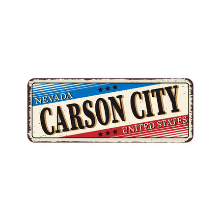 Welcome to Carson City Nevada vintage rusty metal sign vector illustration 일러스트