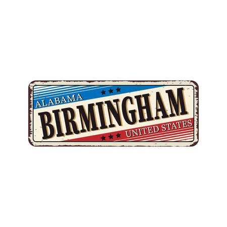 Welcome to Birmingham Alabama vintage rusty vintage metal plaque on a white background, vector illustration