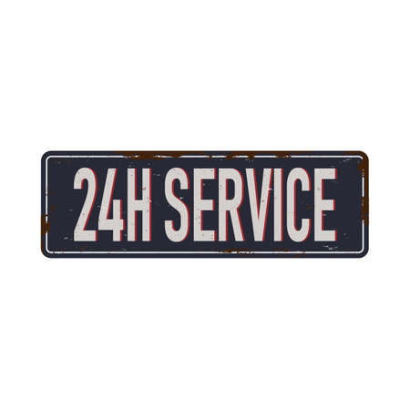 24 h service vintage rusty metal sign on a white background vector illustration 일러스트