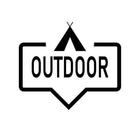 Outddor Camping bubble speak icon trendy flat design 일러스트