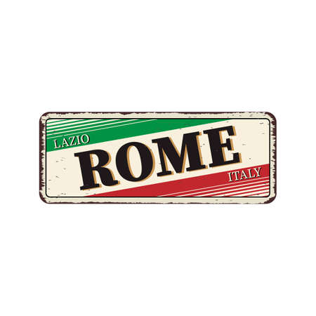ROME Italy Vintage blank rusted metal sign  Illustration on white background 스톡 콘텐츠