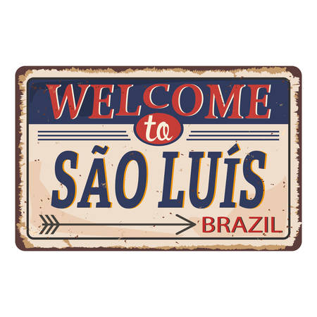 Welcome to Salvador Vintage blank rusted metal sign Vector Illustration on white background