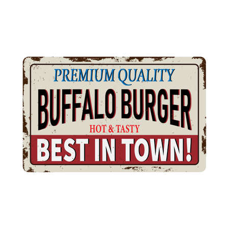 Buffalo Burgers vintage rusty metal sign on a white background, vector illustration