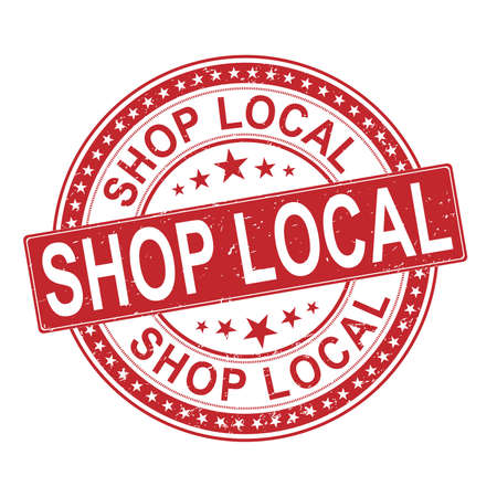 Shop Local Small Business Rubber Stamp on white background