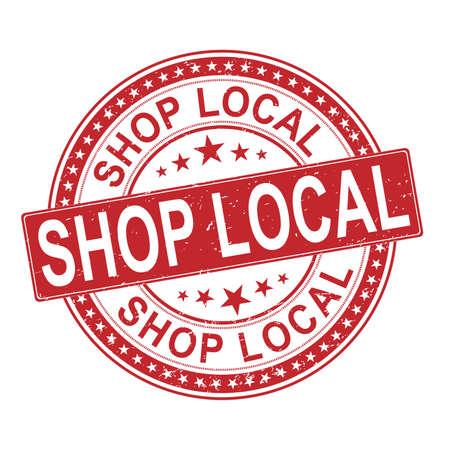 Shop Local Small Business Rubber Stamp on white background Archivio Fotografico - 129908030