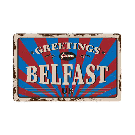 greeting sign art rusted plate on white background