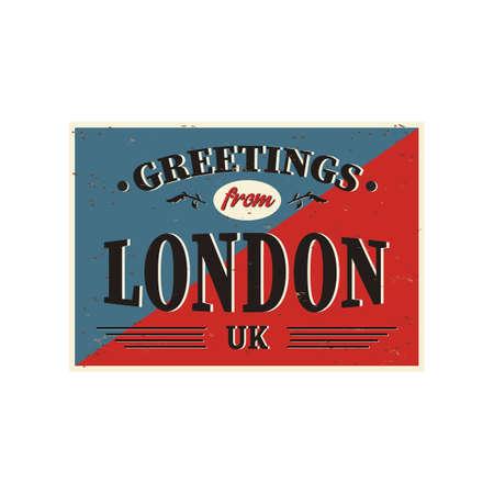 Tarjeta de felicitación turística vintage - Londres, Reino Unido. Los efectos grunge se pueden eliminar fácilmente para obtener un letrero nuevo y limpio. Ilustración de vector