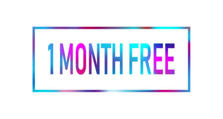 First 1 month free color neon sign icon. Special offer symbol. Stock Illustratie