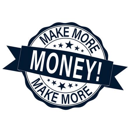 make more money. stamp. sticker. seal. round grunge vintage ribbon make money sign Иллюстрация