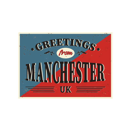 manchester united kingdom greeting sign art postcard vintage web poster