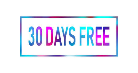 30 Days Free Trial colored neon Text label on white background