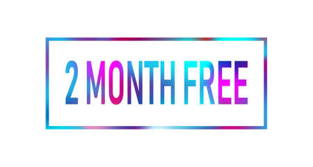 First 2 month free color neon sign icon. Special offer symbol. Stock Illustratie