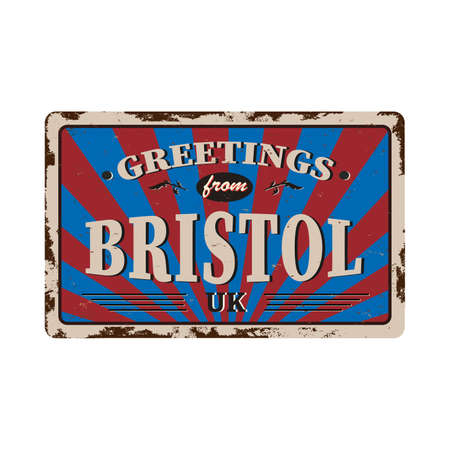 bristol united kingdom greeting sign art rusted plate on white background Иллюстрация