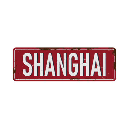 UK cities retro greetings from shanghai Vintage sign. Travel destinations theme on old rusty background.