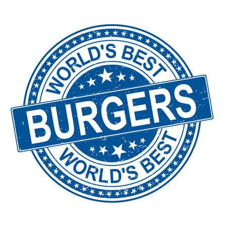 illustration of worlds best burgers blue stamp design icon