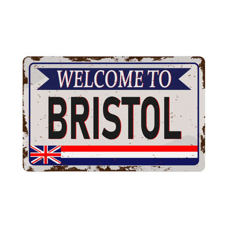 bristol united kingdom greeting sign art rusted plate on white background