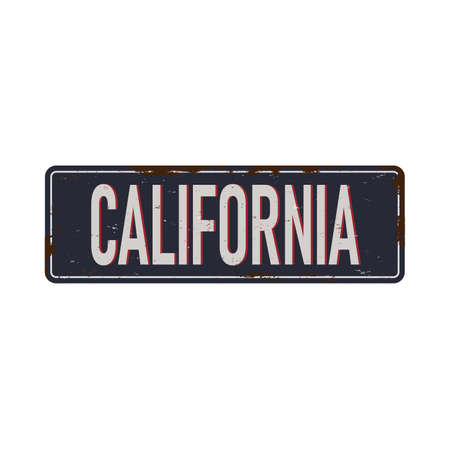 California vintage rusty metal sign on a white background, vector illustration Ilustração