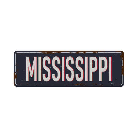 Vintage tin sign with America state. Mississippi. Retro souvenirs or postcard templates on rust background.