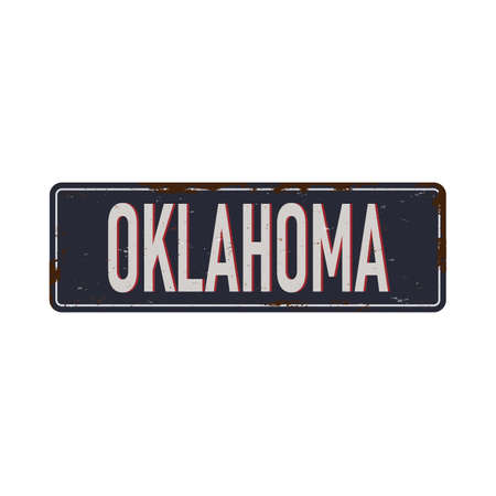 Oklahoma vintage rusty metal sign on a white background, vector illustration
