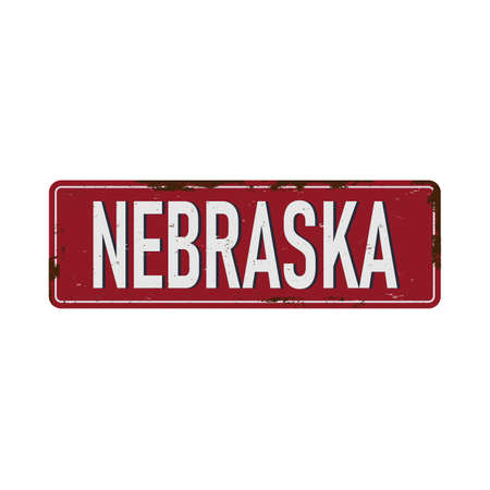 Vintage tin sign with USA state. Nebraska. Retro souvenirs or old paper postcard templates on rust background. States of America. Ilustração