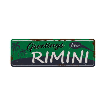 Gretings from Rimini grunge vintage isolated square plate