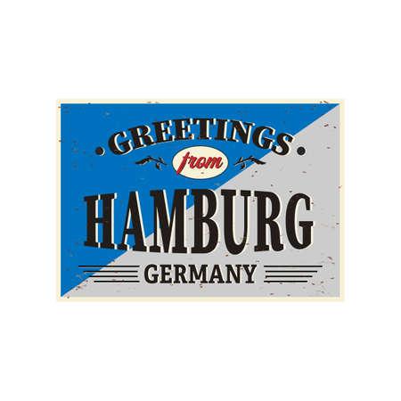 Retro tin sign German city Hanover. Vintage vector souvenir sign or postcard templates Ilustração